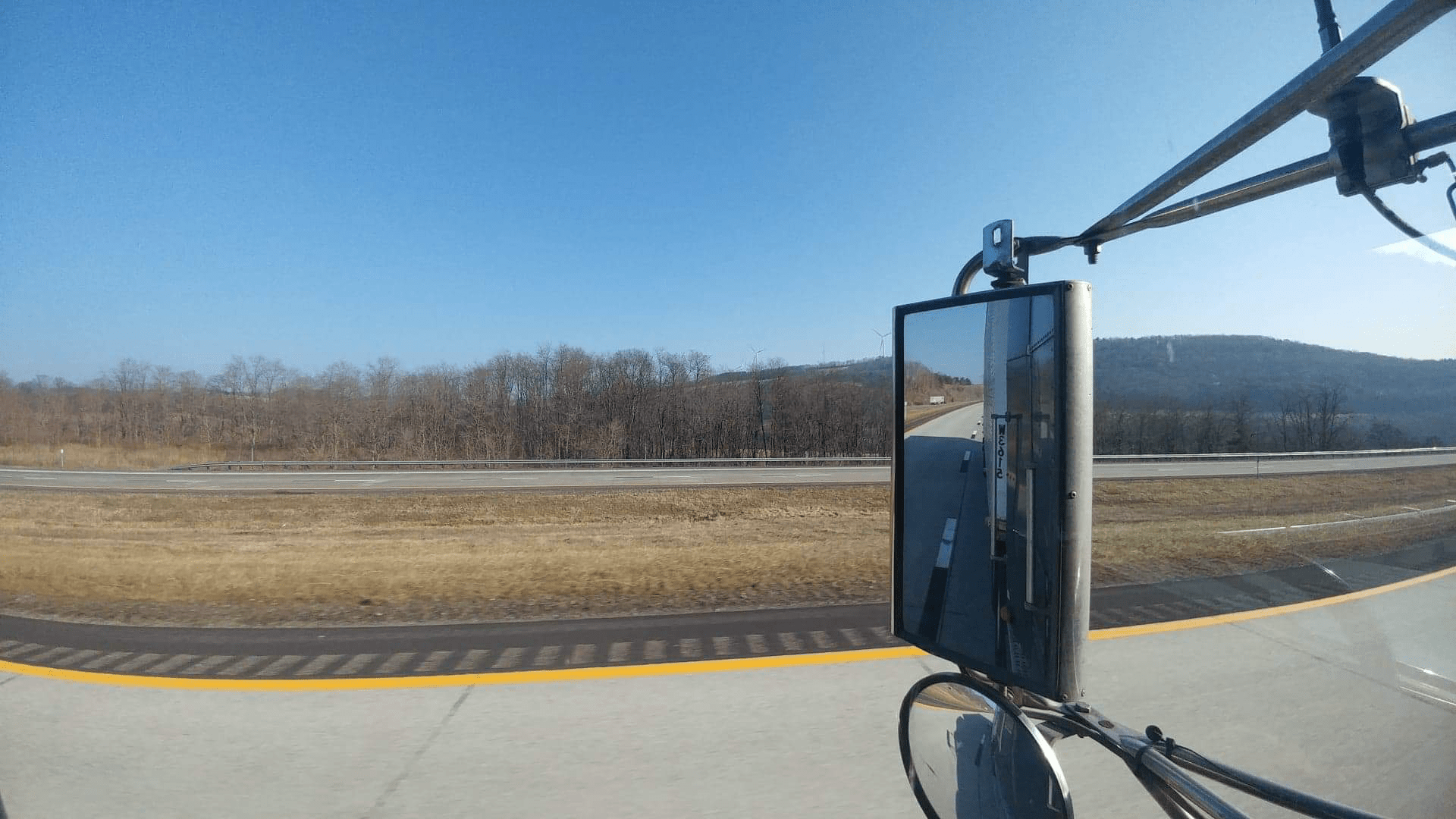 view in truck mirror
